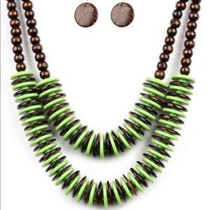 Dominican Disco – Green Necklace Earrings Set